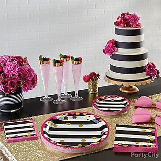 Pink Black And Gold Table Setting Idea Pink Party Decorations Pink Graduation Party Pink And Gold Decorations
