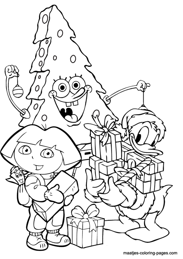 Christmas Coloring Page Spongebob As Christmas Tree And