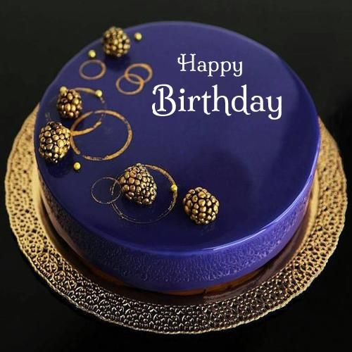 Happy Birthday Royal Blue Designer Cake With Your Name Birthday