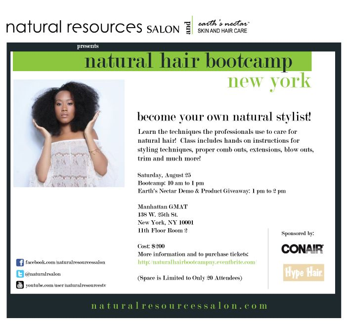 Taking our Natural Hair Bootcamp to NY this weekend! Email us at contactus@naturalresourcessalon for special pricing!