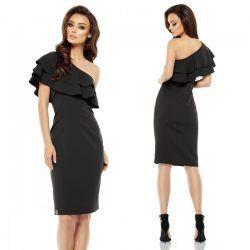 a45f28afea Fekete fodros félvállas alkalmi ruha | Női divat | Fashion, Dresses ...
