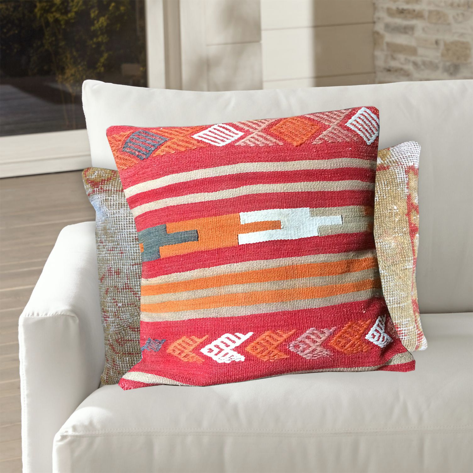 Gray Pink Orange Decorative Throw Pillow Covers 20x20 Wool Sofa