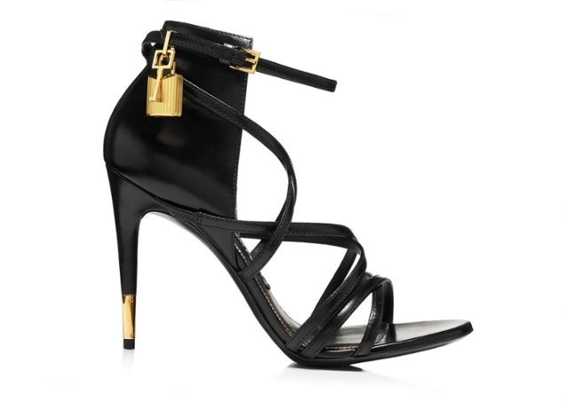 Tom Ford Calfskin Strappy Padlock Sandal in black - NAUGHTY