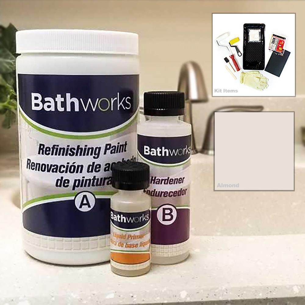 Bathworks 20 Oz Diy Bathtub And Tile Refinishing Kit Almond Bwk 04 In 2020 Countertop Refinishing Kit Diy Bathtub Tile Refinishing