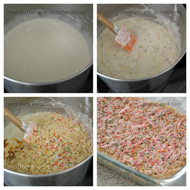 Cake Batter Rice Krispie Treats  Mother Thyme is part of Rice krispie treats - I loved Rice Krispie treats as a kid  I remember they were always a staple at school and church bake sales  They were just your basic rice krispie treat but they were so good and my little hands loved getting ahold of one   Nowadays I am discovering all the unique combinations of Rice Krispie …