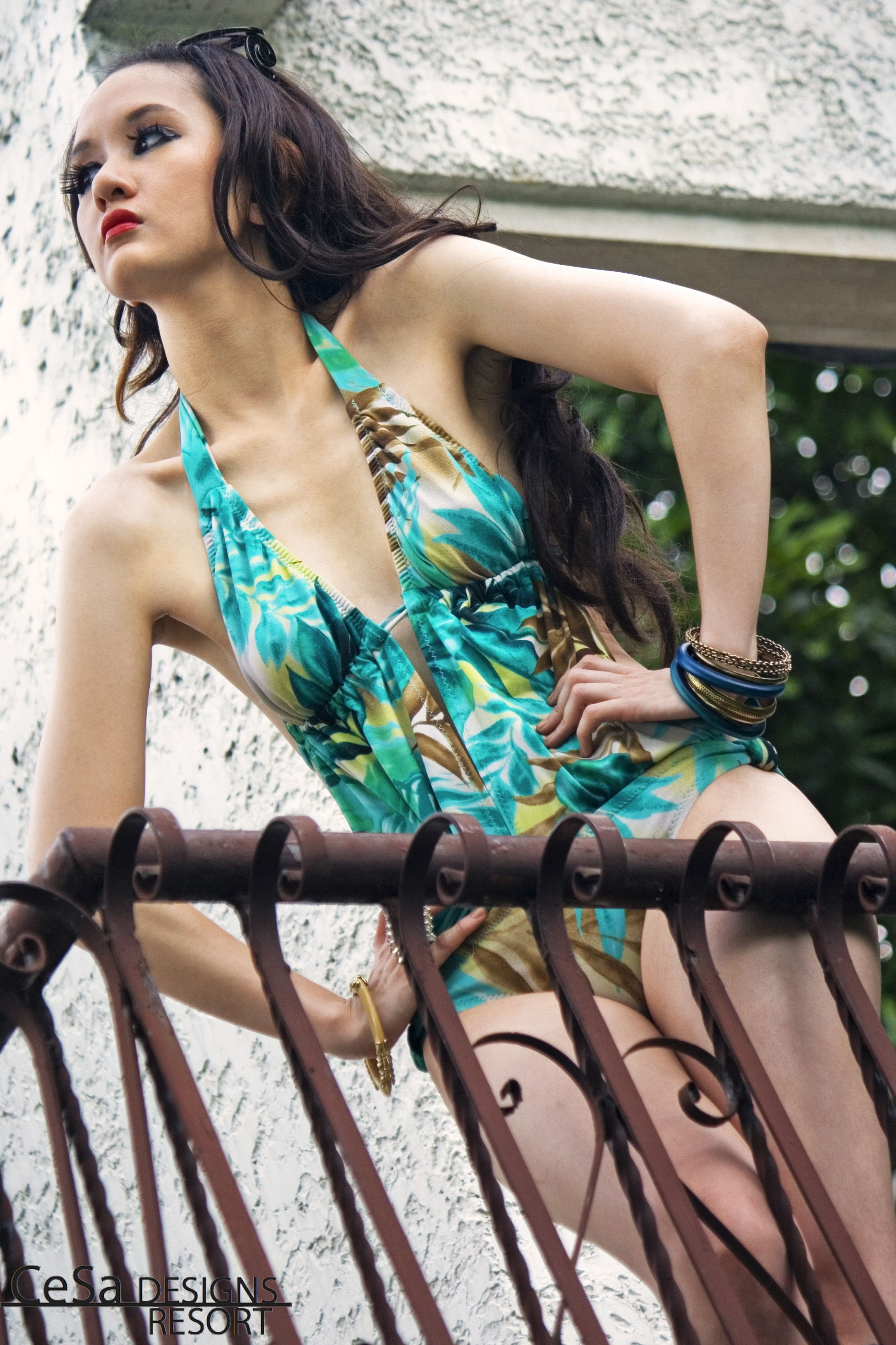 Order you Cesa Swimwear now     Basque 1.1 (SM003) P1600 (Limited quantity )   *Color: Leafy Green and Scarf Print in Pink Orange Black      *Size: XS, S, M    Photography: Inna Cristobal  Model: Hanna De Los Reyes  Asst Art: Jireh De Jose