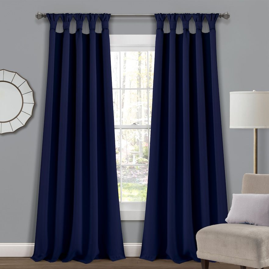 Lush Decor 2 Pack Insulated Knotted Tab Top Blackout Window Curtain Set Window Curtains Lush Decor Thermal Curtains
