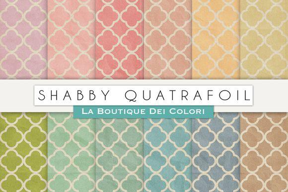 Shabby Quatrafoil Digital Textures by La Boutique dei Colori on @creativemarket