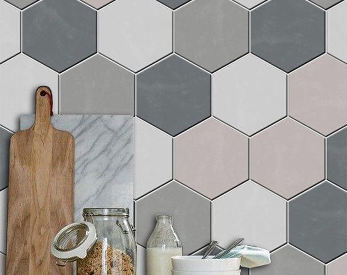 Kitchen And Bathroom Splashback Removable Vinyl Wallpaper Hexa Black Peel Stick