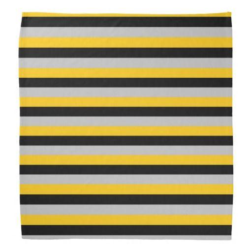 Gold, Black and Silver Stripes Bandana
