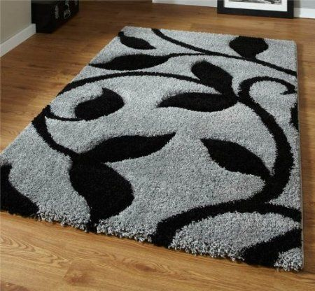 Grey And Black High Density Thick Pile Hand Carved Shaggy Rug 80 X 150cm Amazon Co Uk Kitchen Home Shaggy Rug Rugs On Carpet Diy Rug