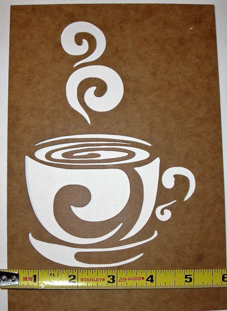 Cafe Coffee Cup Oil Board Stencil Design Template Usa Made