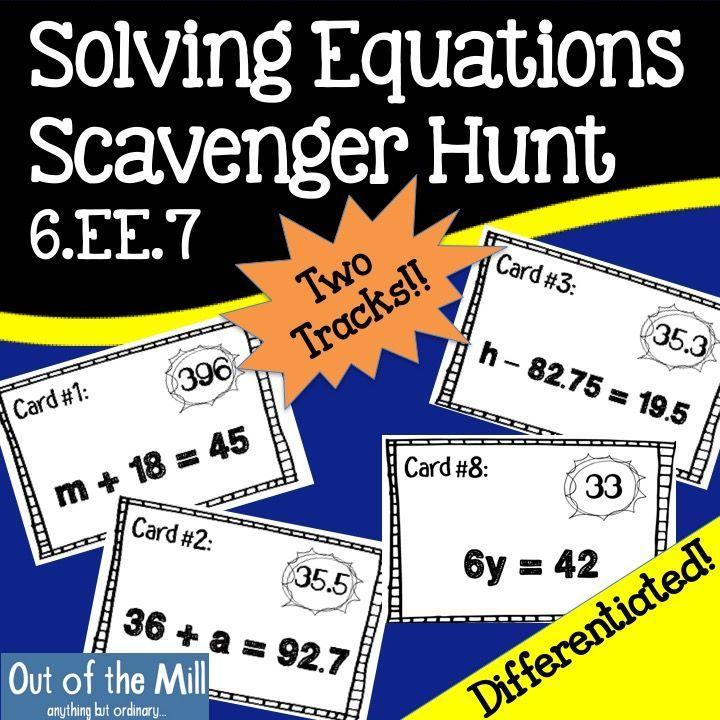 6ee7 solving equations scavenger hunt solving equations