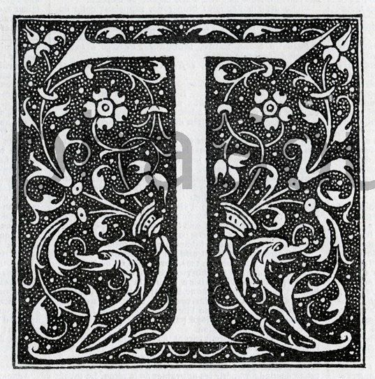 INSTANT DOWNLOAD French Letter T Illuminated Lettering Ornate Very Hi Res 6x6 600 dpi Image Download