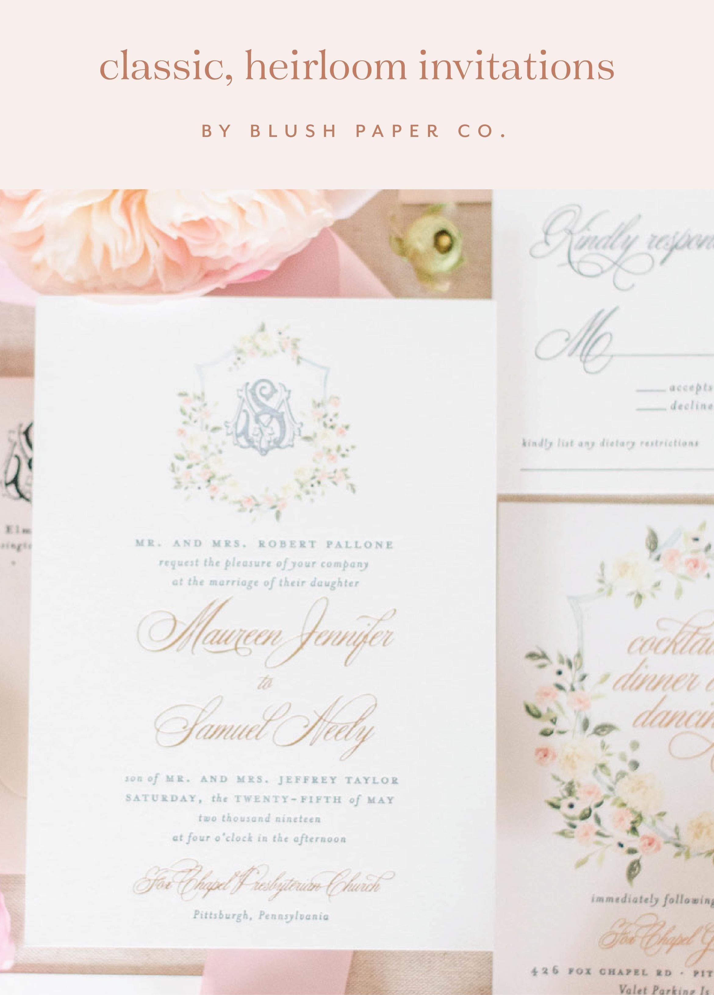 Classic Heirloom Wedding Invitations Spring Wedding Invitations Blush Wedding Invitations Printing Wedding Invitations