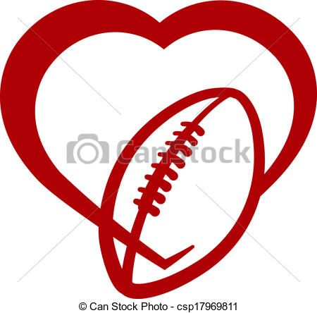 vector clip art of american football heart red stylized