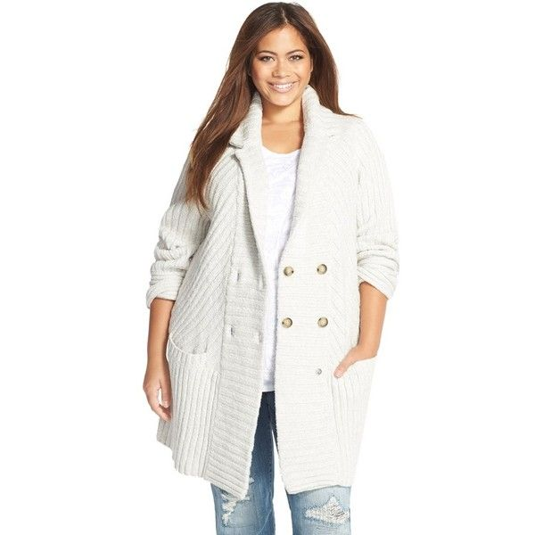 Lucky Brand Ribbed Sweater Coat ($149) ❤ liked on Polyvore featuring light heather grey and plus size
