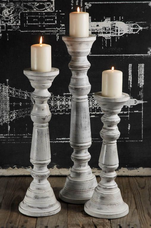 Wood Pillar Candle Holder White Set Of 3 Wood Pillar Candle Holders Candle Holders Wooden Pillar Candle Holders