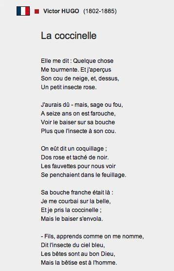 La Coccinelle Poème Victor Hugo 1882 Its A Poem About