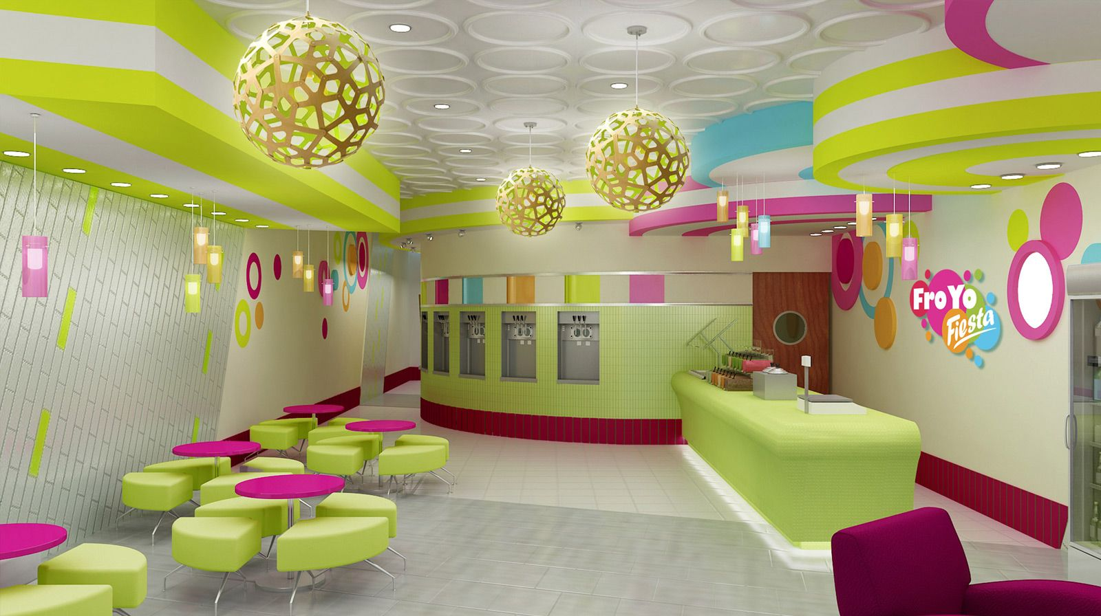 Froyo fiesta yogurt shop interior design ice cream shop for Design shop de