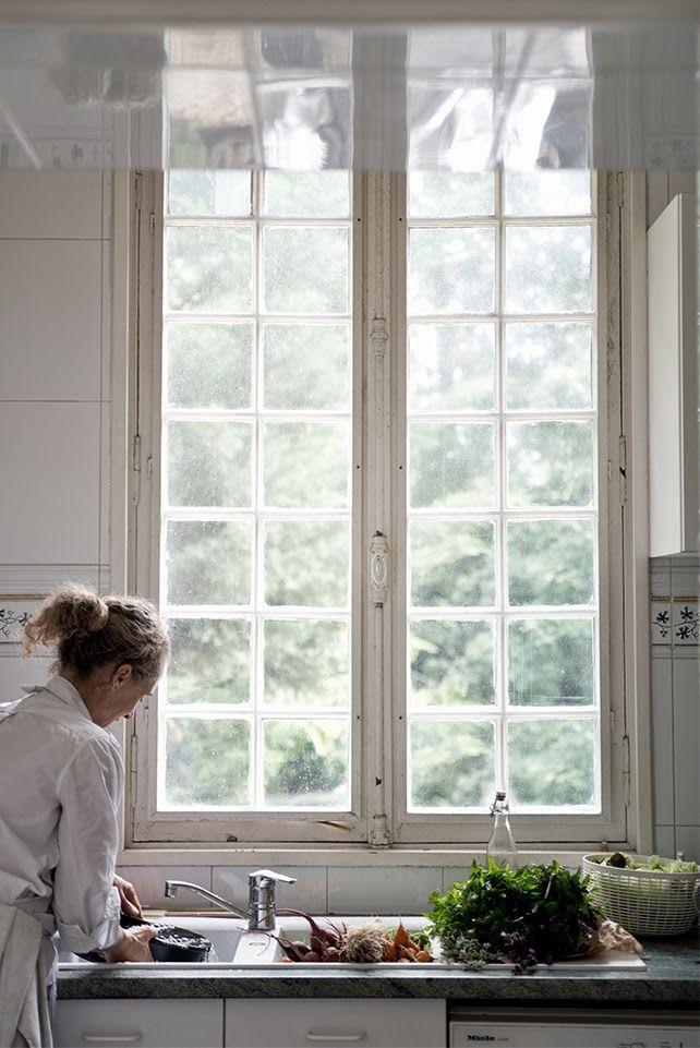white, kitchen, windows, architecture, style, design