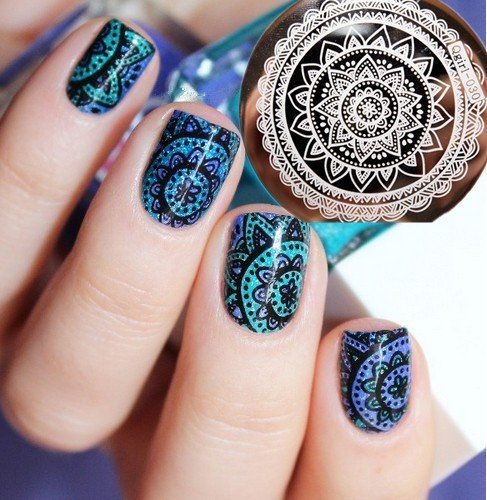 Nicole Diary Nail Art Full Flower Design Stamp Template Image Plate