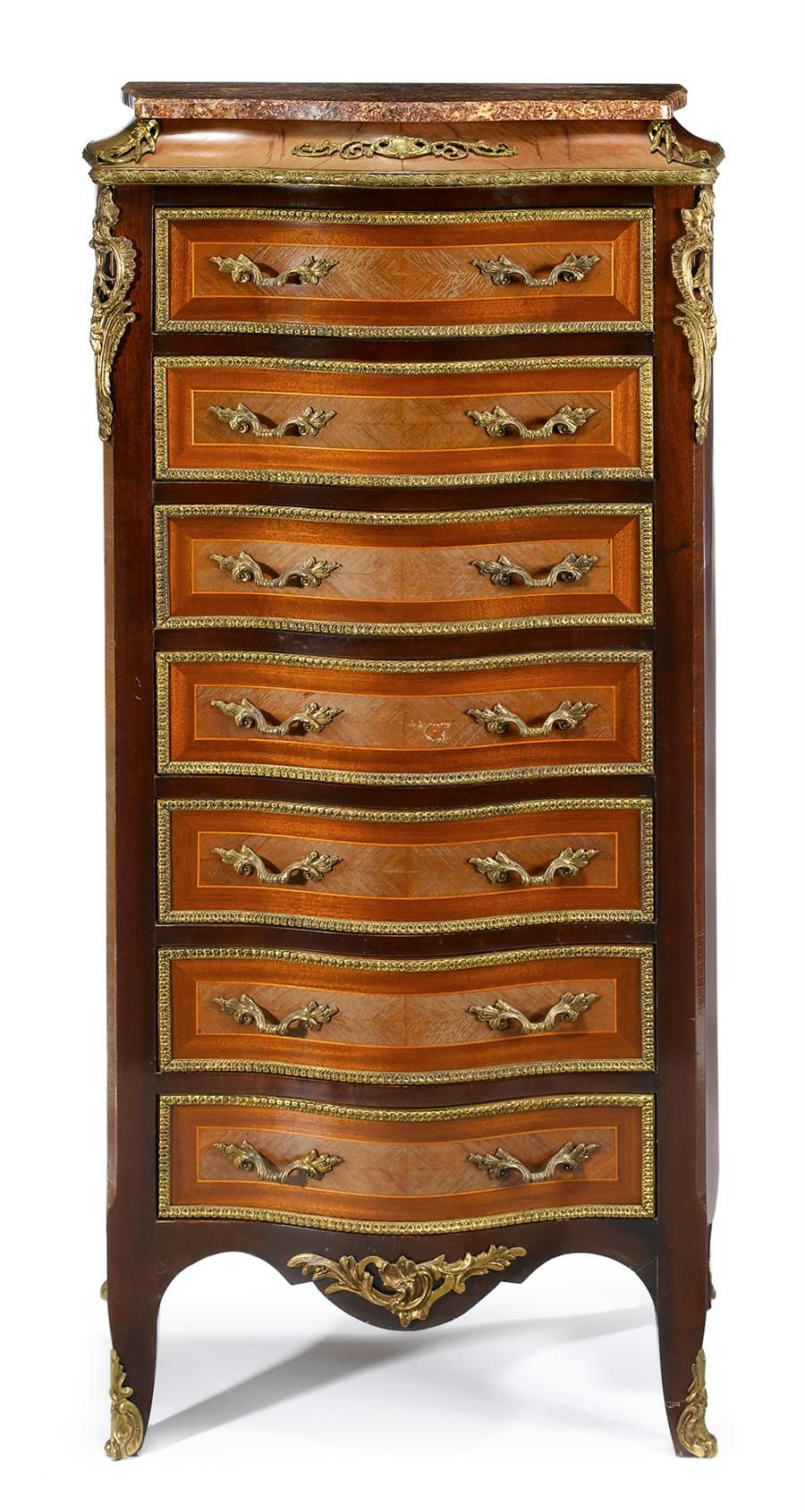 Louis XVI style gilt metal mounted kingwood and tulipwood marble top semanier  first half 20th century  The serpentine marble top over conforming case enclosing seven line inlaid drawers, over shaped apron and short cabriole legs terminating in sabots.