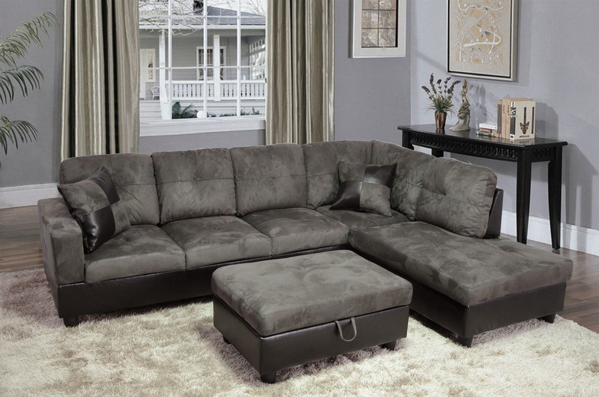 Russ Sectional With Ottoman Faux Leather Sofa Sectional Sofa