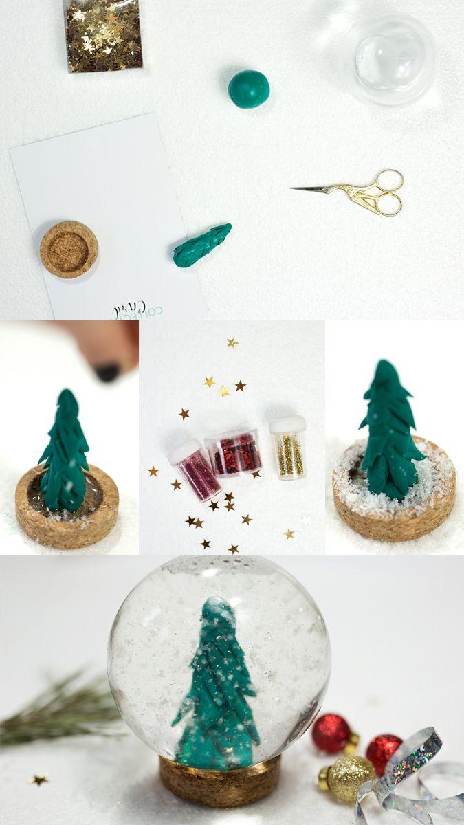 Diy Ideen Weihnachten.Diy Schneekugel Mit Fimo Form Diy Crafts Diy Schneekugel
