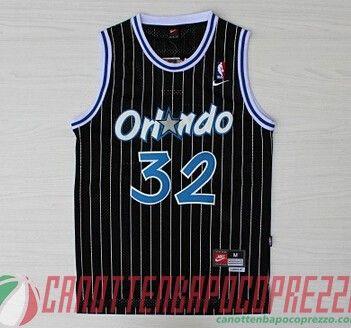 canotte nba poco prezzo Orlando Magic strisce nere # 32 O'NEAL