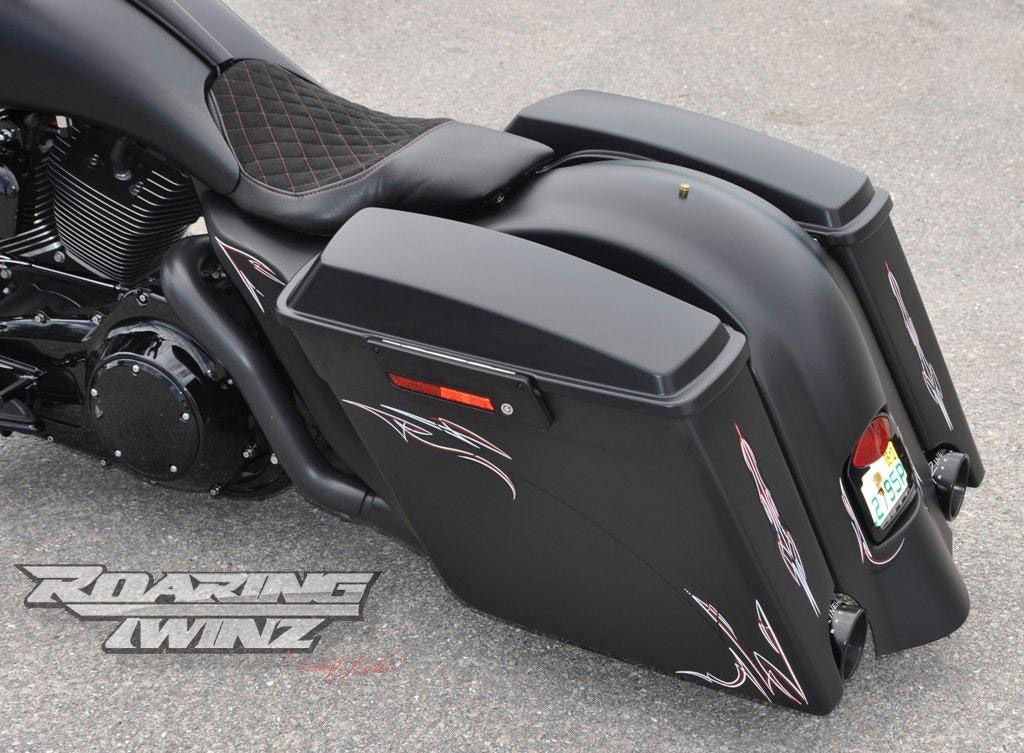1 Stretched Extended Saddlebags Bags Rear Fender Streetglide Street GlideHarley DavidsonStripesBikers