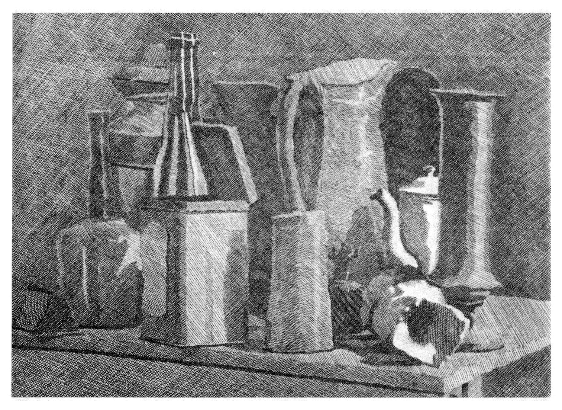 History Of Contour Line Drawing : Large still life with coffeepot — giorgio morandi