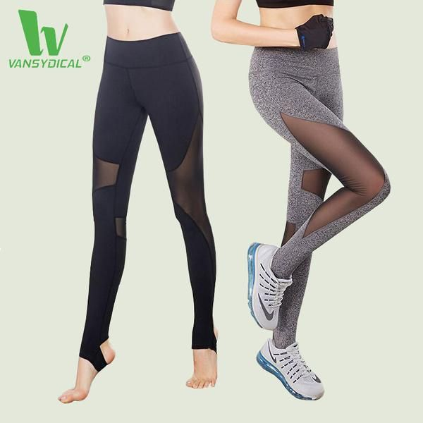 751b1cae8 VANSYDICAL Dropshipping Yoga Pant Womens Tights Running Leggings Sports  Pants Female Gym Running Mesh Workout Pants Fitness Pant