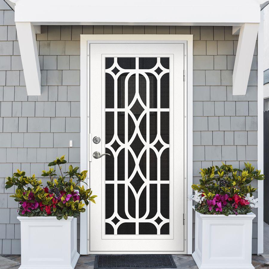 Captivating Premium Aluminum White Essex With Black Perforated Metal Screen Grill Door  Design, Door Grill,