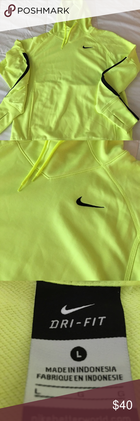 NWOT Nike Dri-Fit hoodie L Neon yellow Nike pullover. Perfect condition. Bought it from another posher but it doesn't fit me. No stains, has thumb holes. Nike Tops Sweatshirts & Hoodies