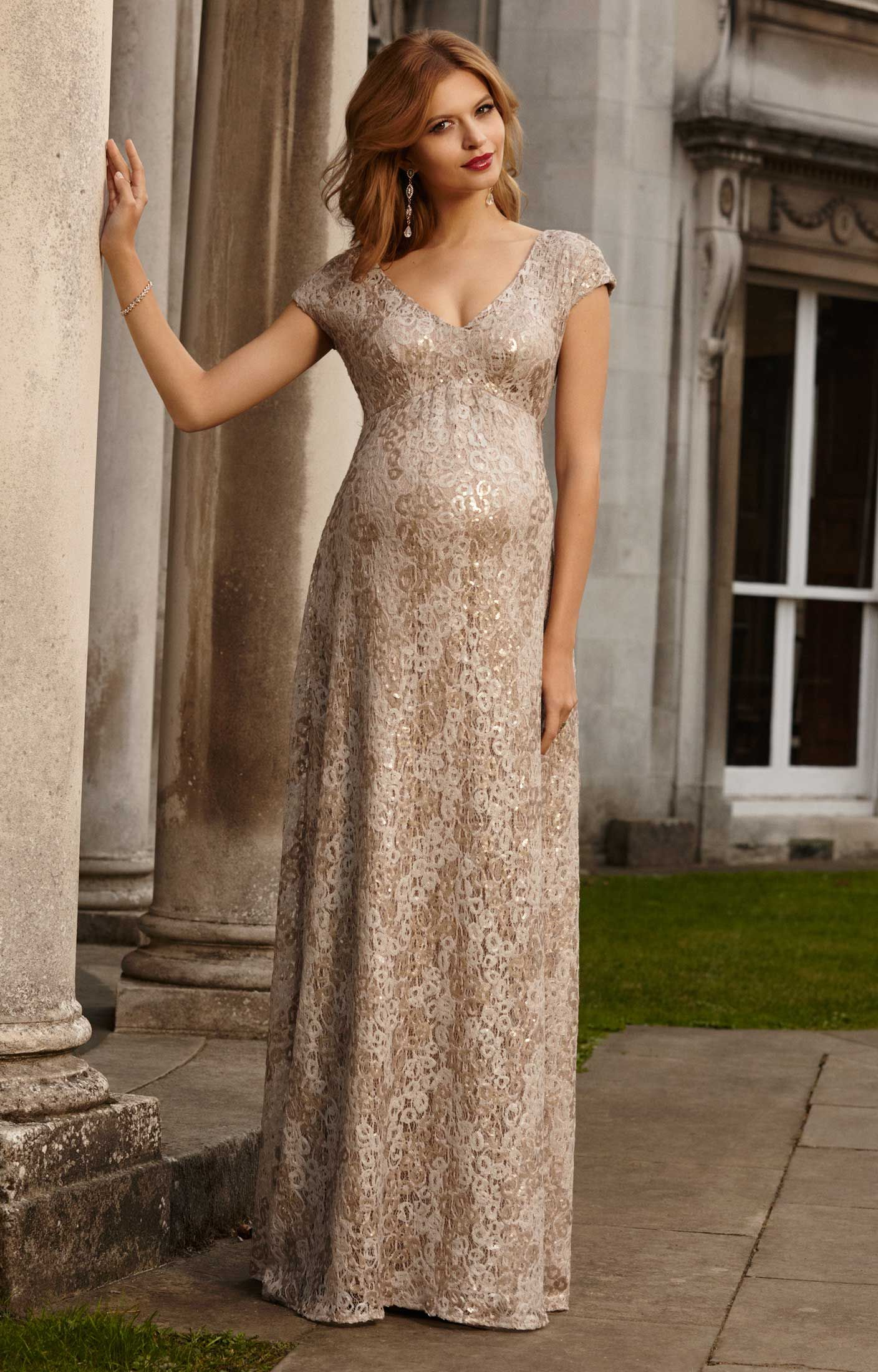 651aca19a4152 Carmen Maternity Gown Gold Rush by Tiffany Rose Gold Maternity Dresses, Tan  Dresses, Gold