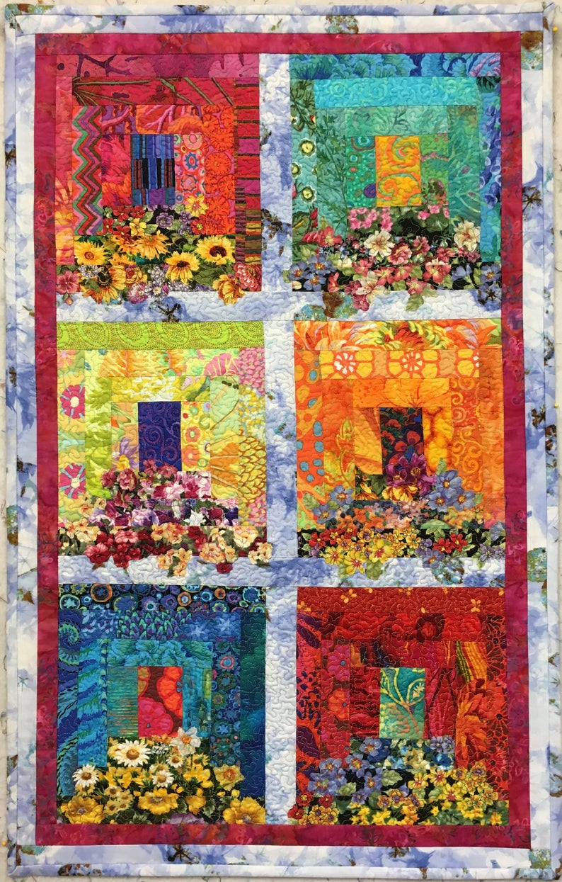Myra S Window Boxes Vi Original Fiber Art By Lenore Etsy Landscape Art Quilts Flower Quilts Watercolor Quilt