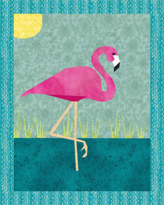 PINK FLAMINGO Quilt Block Pattern Paper Pieced by PatternBrat ...