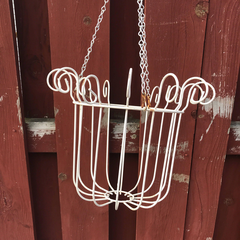 Vintage White Metal Hanging Plant Holder Wedding Decor Vintage Planter By Vintagepoetic On Etsy Hanging Plant Holder Hanging Plants Plant Holders