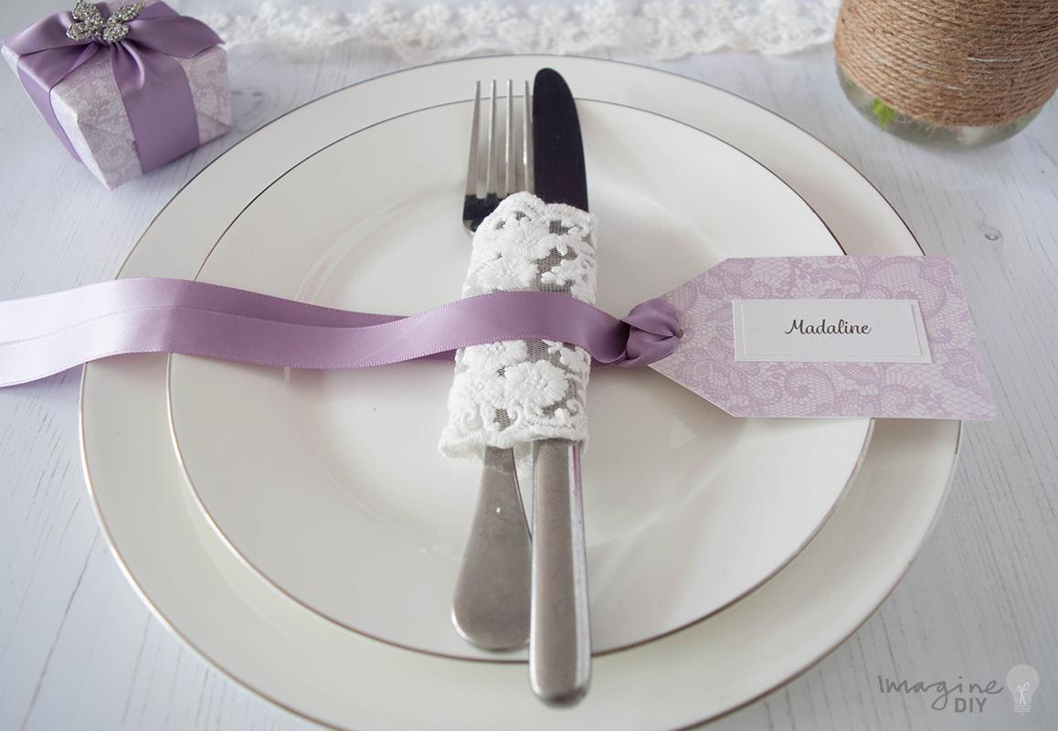 DIY wedding place card. Name card for wedding. Lace wedding, Lilac ...
