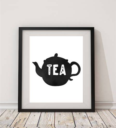 Tea tea pot cup of tea kitchen art kitchen digital kitchen printskitchen wall artkitchen wallskitchen decorblack white