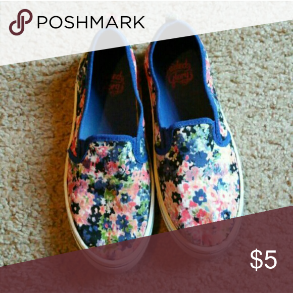 Floral slip ons Worn and show signs of wear. Stains on sole but Im sure can be removed. Selling as is. Faded Glory Shoes Sneakers