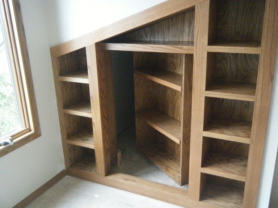 This Was One Shelving Unit I Did For A Client. I Suggested A Hidden Room!  Now He Acually Has 3 Hidd.