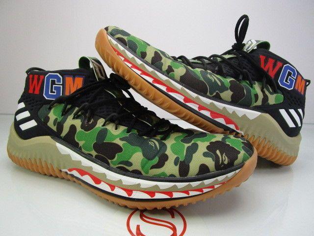 a1afcbfc8 Adidas Dame 4 BAPE GREEN CAMO 11