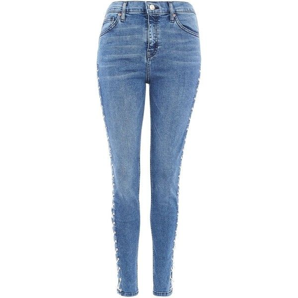 Topshop Moto Mid Blue Side Lace Jamie Jeans (1,190 MXN) ❤ liked on Polyvore featuring jeans, blue, high-waisted skinny jeans, lace up jeans, high waisted jeans, blue jeans and high waisted skinny jeans