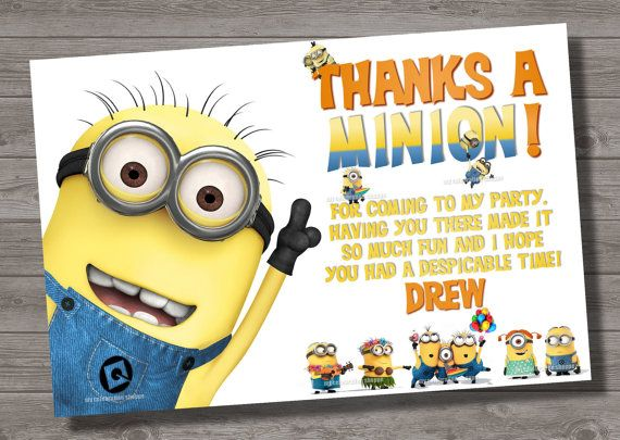 Despicable Me Thank You Card To Match By Mycelebrationshoppe 6 50