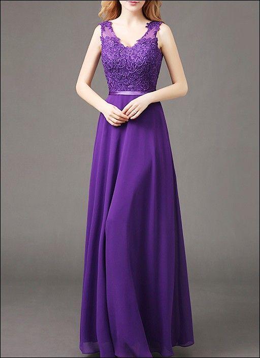 Lila Abendkleid mit Spitzentop und Chiffonrock   Bodas   Pinterest