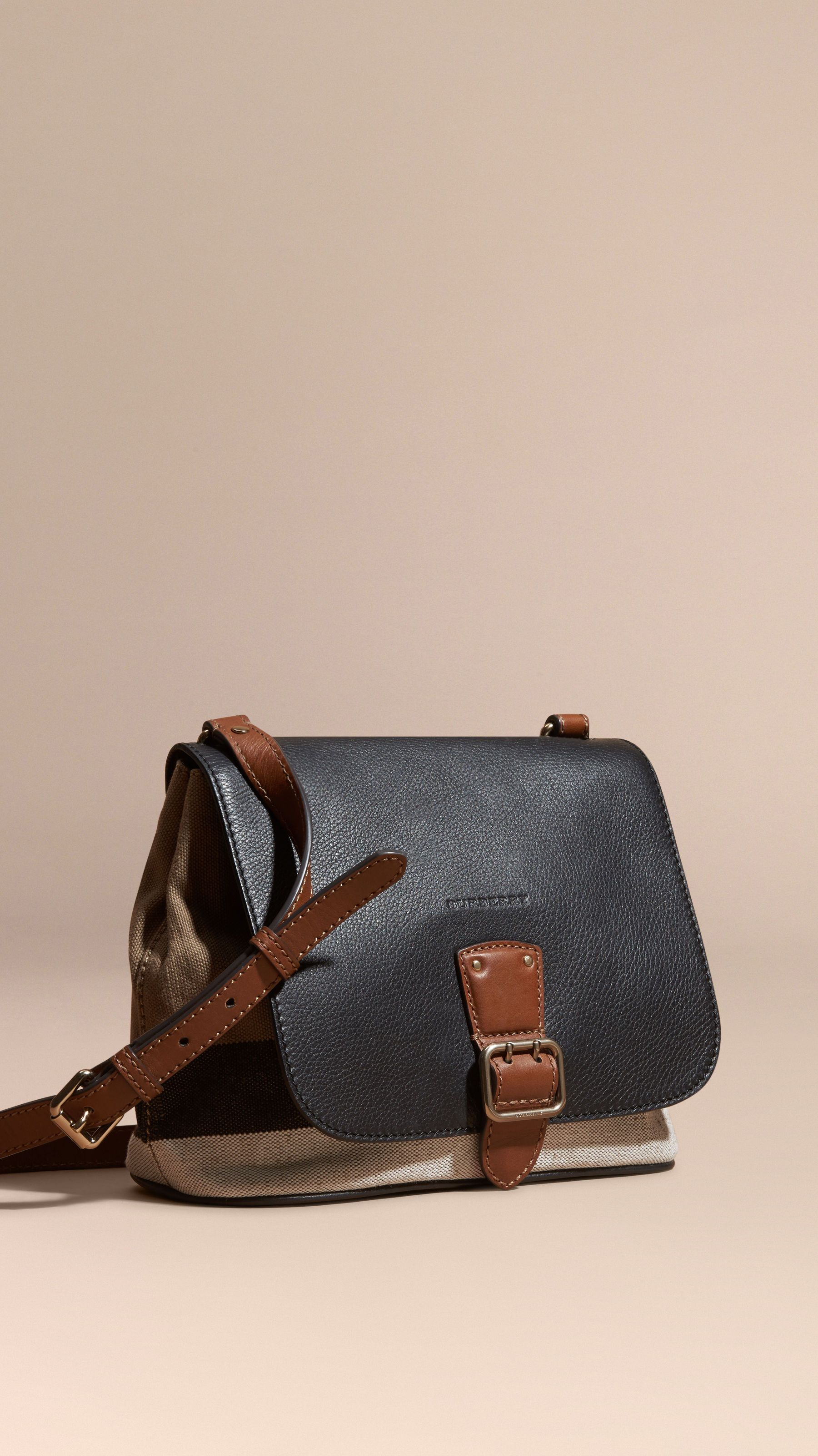 b7a277d65d81 Canvas Check and Leather Crossbody Bag Black
