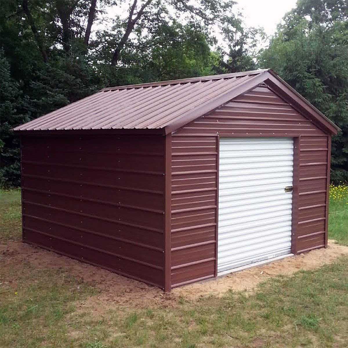 10x12x8 Metal Shed Installed In Michigan.Visit Www.midweststeelcarports.com  For More Information