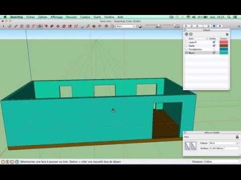 Tutorial Sketchup  dessiner sa maison N°1  fondations et murs